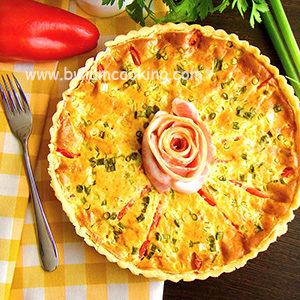 Пирог заливной «Киш» с сыром и сладким перцем