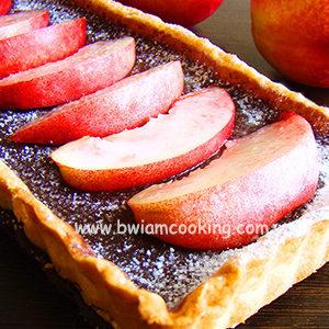 Пирог песочный «Тарт» шоколадный с персиками