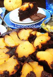 Шоколадный пудинг с грушами