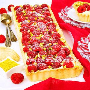 Пирог песочный «Тарт» лимонный с малиной и заварным кремом