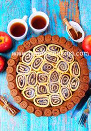 Пирог яблочный с шоколадными рулетиками