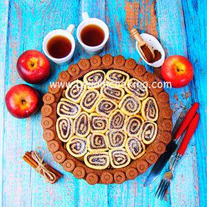 Пирог песочный шоколадный с яблоками