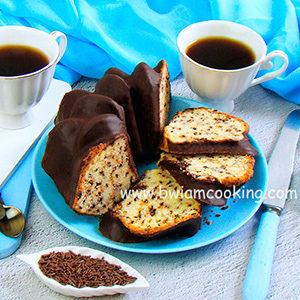 Кекс на сметане с шоколадной глазурью
