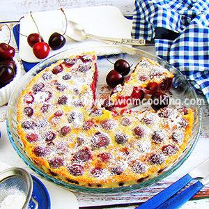 Пирог заливной «Клафути» с вишней