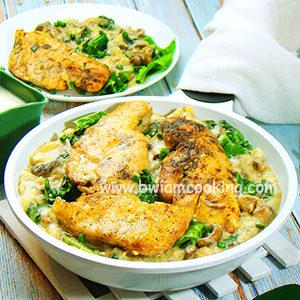 Курица с грибами и шпинатом