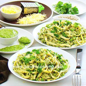 Макароны «Лапша» с зеленым соусом и горошком